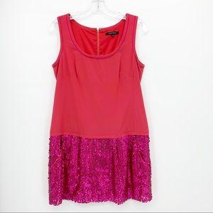 Nanette LePore 100% Silk Drop Waist Pink Dress 6